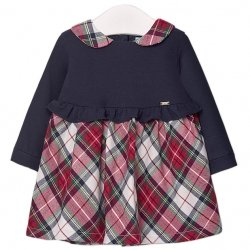 Mayoral Autumn Winter Baby Girls Navy Red Tartan Dress