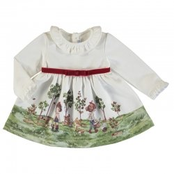 Mayoral Autumn Winter Baby Girls Ivory Fleece Dress Ruffle Collar Red Belt