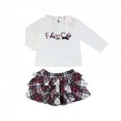 Mayoral Autumn Winter Baby Girls Ivory Fancy Top Red Tartan Skirt Set