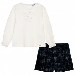 Mayoral Autumn Winter Girls Ivory Glitter Top Navy Shorts Set