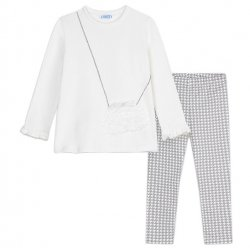 Mayoral Girls Ivory Top Grey Jacquard Pattern Legging Set