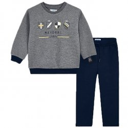 Mayoral Boys Grey Pullover Top Navy Pants Set