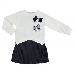 Mayoral Girls 2 Piece Navy Dress With Ivory Pullover