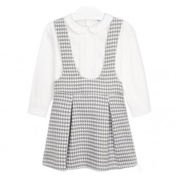 Mayoral Girls Ivory Blouse Grey Jacquard Pattern Dungaree Dress Set