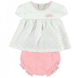 Sale Mayoral Baby Girls Off White Blouse Pink Bloomer Set