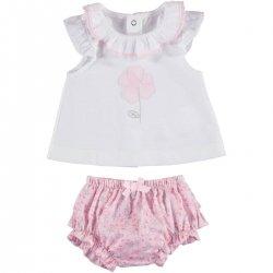 41ac503eeeaa Mayoral Baby Girls White Top Pink Floral Ruffle Panty Set