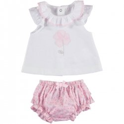 Mayoral Baby Girls White Top Pink Floral Ruffle Panty Set
