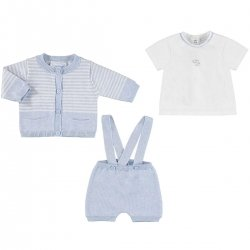 Sale Mayoral Baby Boys White Blue Knitted Dungarees Cardigan Set