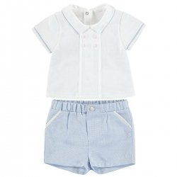 Mayoral Baby Boys White Top Blue Shorts Outfit