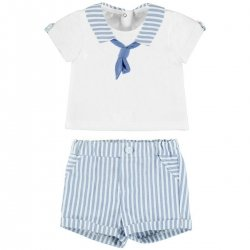 Mayoral Baby Boys White Blue Stripes Sailor Outfit