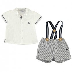Mayoral Baby Boys White Shirt Navy Stripes Shorts Braces Set