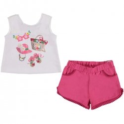 Mayoral Baby Girls White Pretty T Shirt Fuchsia Shorts Set