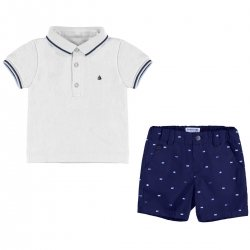 Mayoral Spring Summer Baby Boys White Polo Top Navy Shorts Set