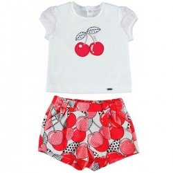 Mayoral Baby Girls Spring Summer White Top Red Cherries Shorts Set