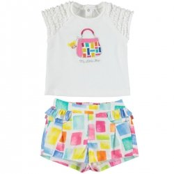 Mayoral Baby Girls Spring Summer White Top Colourful Shorts Outfit
