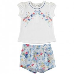 Sale Mayoral Baby Girls Blue Floral Print white Top Blue Floral Shorts Set