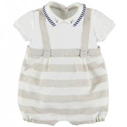 Mayoral Baby Boys All In One Ivory Tan Linen Romper Outfit