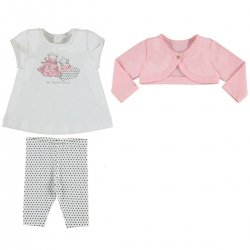 Mayoral Baby Girls Spring Summer White Pink 3 Piece Leggings Set