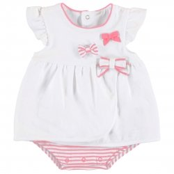 Mayoral Baby Girls White Pink Stripes Blousy Dress With Panty