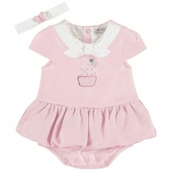 Mayoral Baby Girls Pink Skirt Panty Set With Headband
