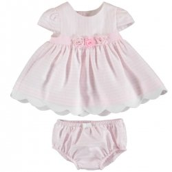 Mayoral Baby Girls Pink Stripes Cotton Dress With Panty