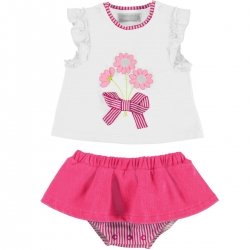 Mayoral Baby Girls White Top Fuchsia Pink Skirt Panty Set