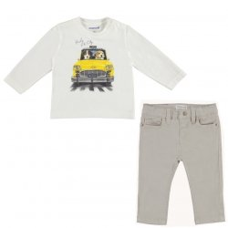 Mayoral Baby Boys Ivory Car Print Top Light Grey Trousers Set 2019 Autumn Winter