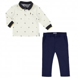 Mayoral Baby Boys Ivory Puppy Print Top Navy Trousers Set Autumn Winter