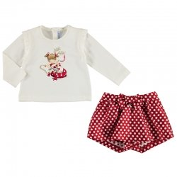 Mayoral Baby Girls Ivory Top Red Polka Dots Shorts Set 2019 Autumn Winter