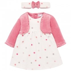 Mayoral Baby Girls All in One Pink Dress Cardigan With Headband