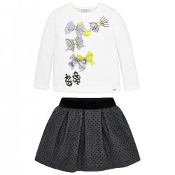 Mayoral Girls Ivory Top Grey Skirt Set