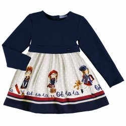 Mayoral Girls Navy And Grey Pretty Printed Dress Autumn Winter