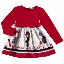 Mayoral Girls Red And Grey Printed Dress Autumn Winter