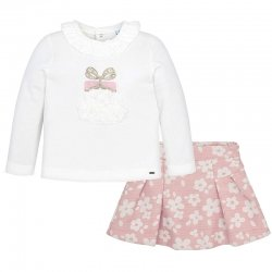 Mayoral Girls Ivory Top Pink Jacquard Skirt Set Autumn Winter