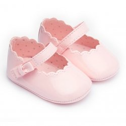 Mayoral Baby Girls Pink Pram Shoes Scallop Pattern Velcro Fasten