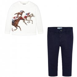 Mayoral Boys Horses Decorated Top With Navy Chino Set