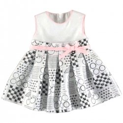 Mayoral Baby Girls Spring Summer White Printed Dress Pink Belt Bow