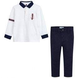 Smart Mayoral Boys White Long Polo Top Navy Trousers Set