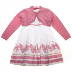 Mayoral Girls Pink Bow Stripes Dress Pink Bolero Set