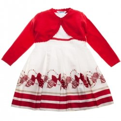 Mayoral Girls Red Bow Stripes Dress Red Bolero Set