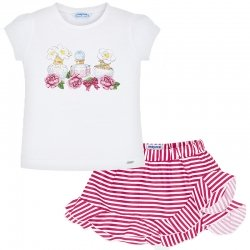 Mayoral Girls Spring Summer White T Shirt Top Red Stripes Skirt Set