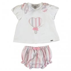 Mayoral Spring Summer Baby Girls White Top Pink Stripes Shorts Set