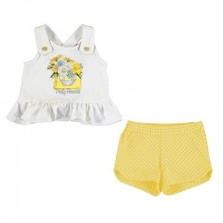 Mayoral Spring Summer Baby Girls White Lemon Flower Top Lemon Polka Dots Shorts Set