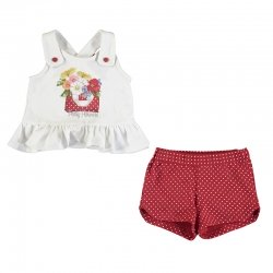Mayoral Spring Summer Baby Girls White Pretty Flower Print Top Red Polka Dots Shorts Set