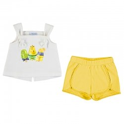 Mayoral Spring Summer Baby Girls White  Top Ice Lolly Print Lemon Shorts Set