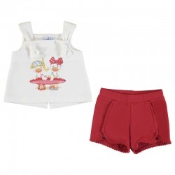 Mayoral Spring Summer Baby Girls White Cute Ducks Print Top Red Shorts Set
