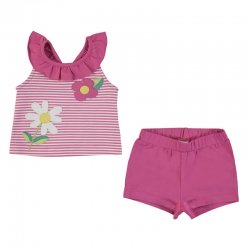 Mayoral Spring Summer Baby Girls Fuchsia Stripes Top Fuchsia Shorts Set