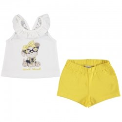 Mayoral Spring Summer Baby Girls White Puppy Print Top Lemon Shorts Set
