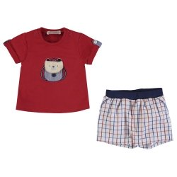 Mayoral Spring Summer Baby Boys Red Top White Check Shorts Set