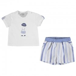 Mayoral Spring Summer Baby Boys White Top Blue Stripes Shorts Set